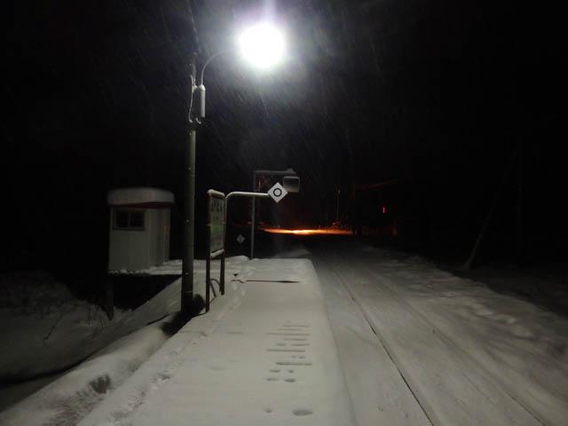 僅かな時間で、ホームはすっかり吹雪に覆われた