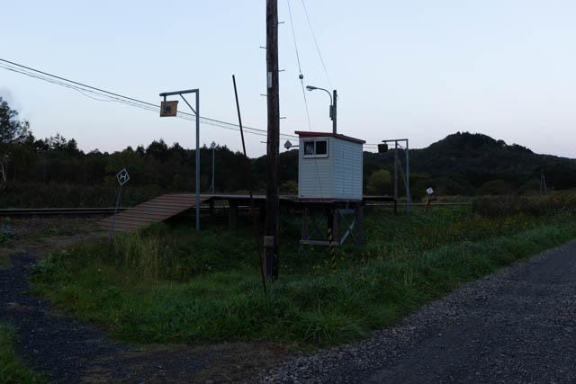 牧草地に続く砂利道が「駅前通り」
