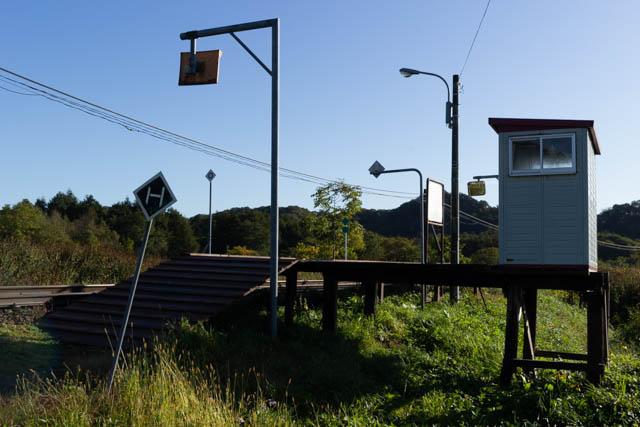 駅舎の台座を稚内方から眺める