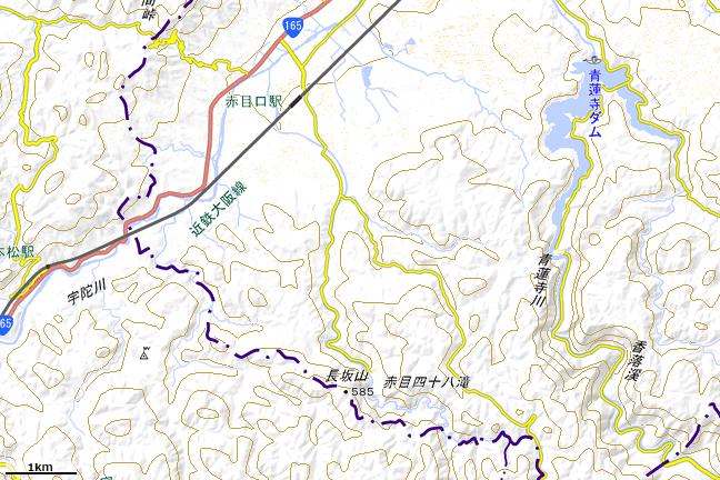 地形図:赤目口駅周辺