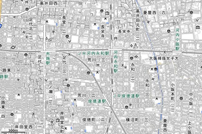 地形図:布施駅付近