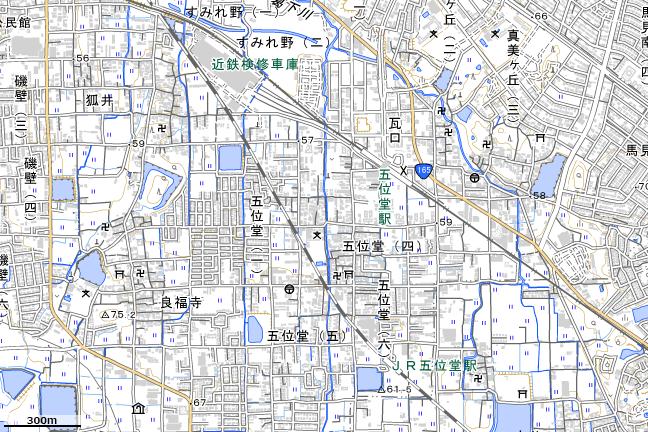 地形図:五位堂駅付近