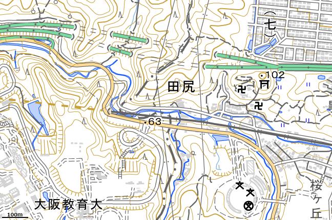 地形図:阪奈国境付近