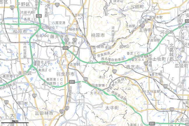 地形図:阪奈国境付近広域