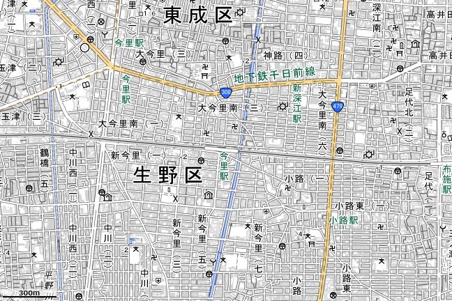 地形図:今里駅付近