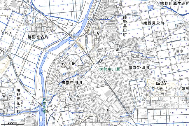 地形図:伊勢中川駅周辺