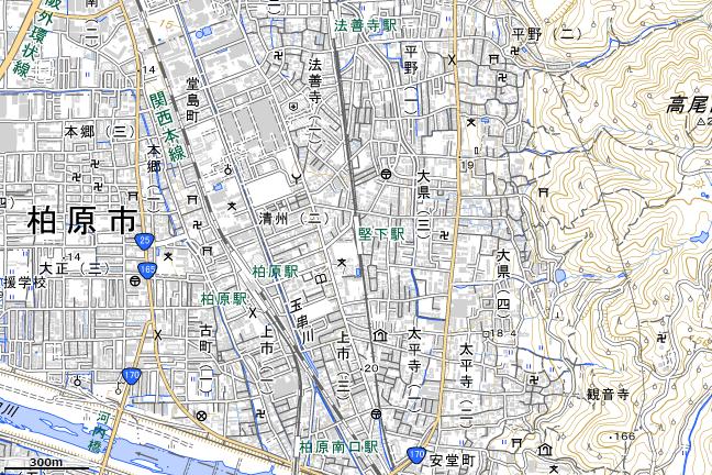 地形図:堅下駅付近
