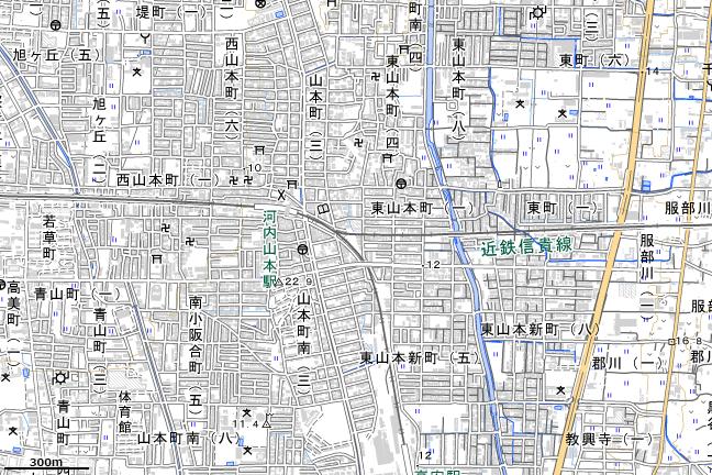 地形図:河内山本駅付近