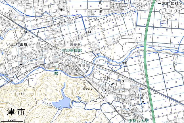 地形図:川合高岡駅周辺