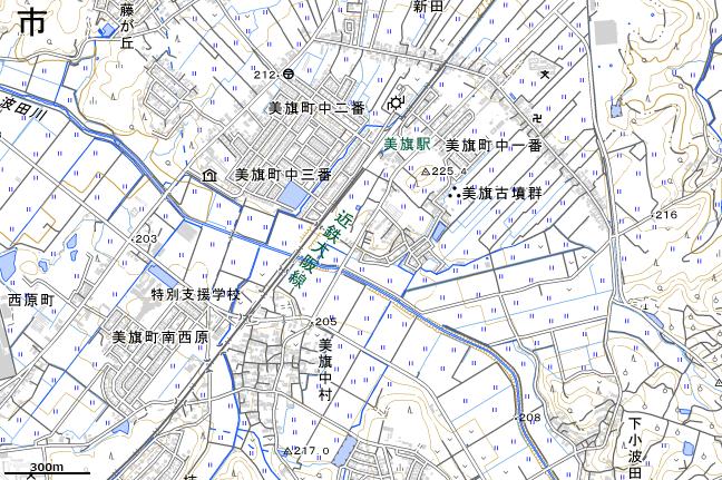地形図:美旗駅周辺