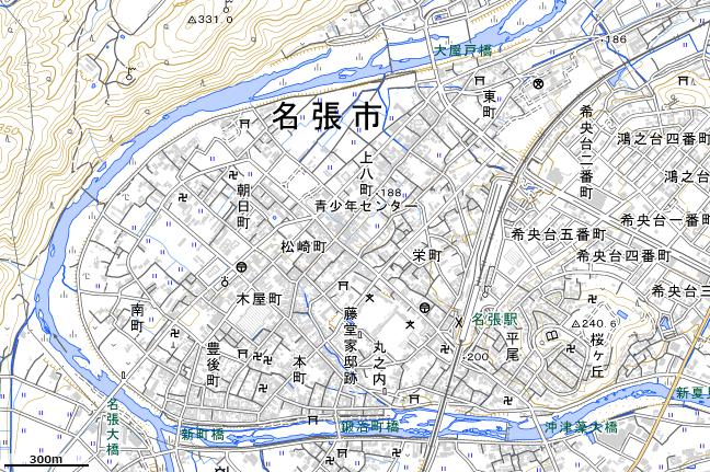 地形図:名張駅周辺