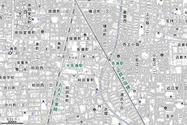 地形図:長瀬駅付近