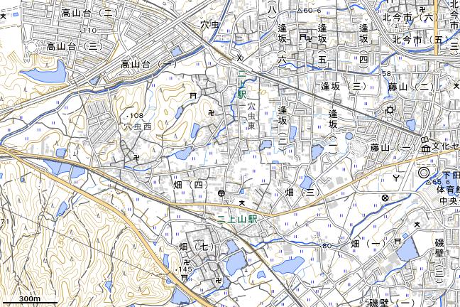 地形図:二上駅付近