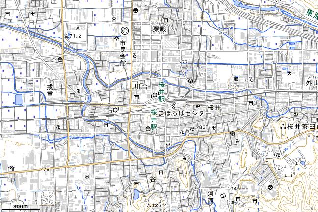 地形図:桜井駅付近