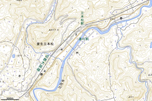 地形図:三本松駅周辺