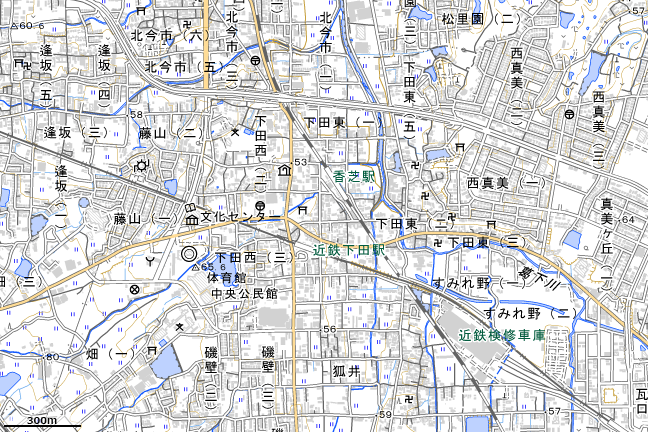 地形図:近鉄下田駅付近