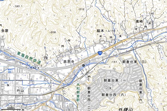 地形図:大和朝倉駅付近