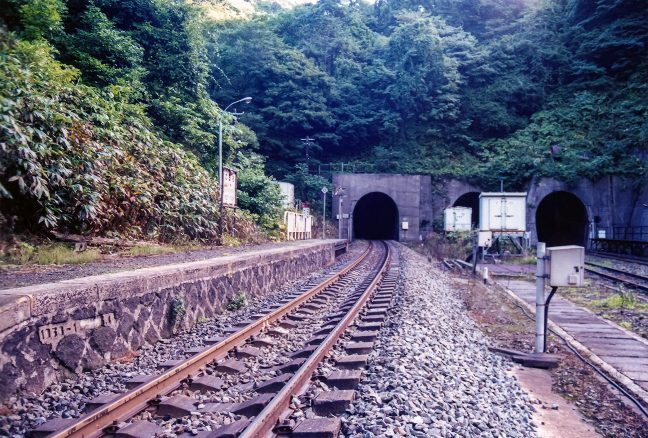 下り線側から眺めた小幌駅構内の様子