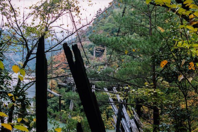 前回の訪問から3年余りの間に、すっかり踏み板が崩れて残骸となった高瀬橋