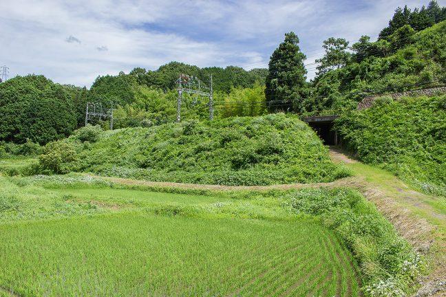 山裾には田んぼが広がり、所々で農道が近鉄大阪線の築堤の下を通り抜けている