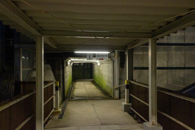 築堤上のホームへトンネル状の通路を通ってアクセスする