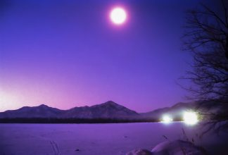 和琴温泉から望む屈斜路湖の夕景(北海道:1998年2月)