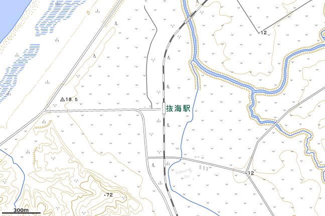地形図:抜海駅付近