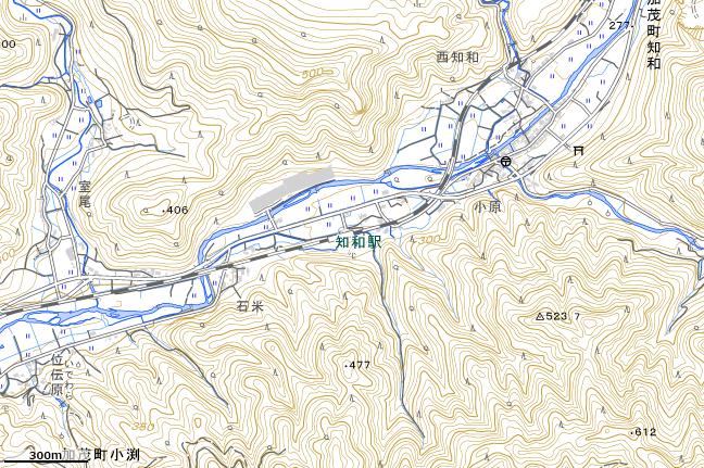 地形図:知和駅付近