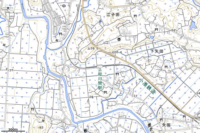 地形図:上総川間駅付近