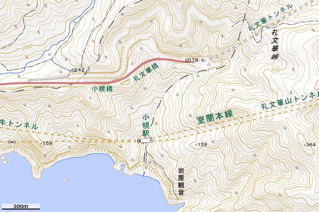 地形図:小幌駅周辺