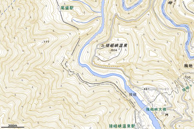 地形図:尾盛駅アクセスルート