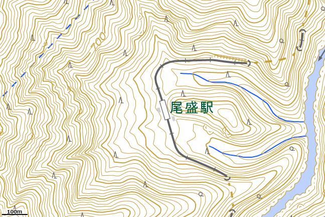 地形図:尾盛駅付近拡大図