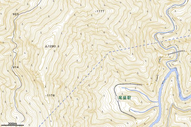 地形図:尾栗峠付近