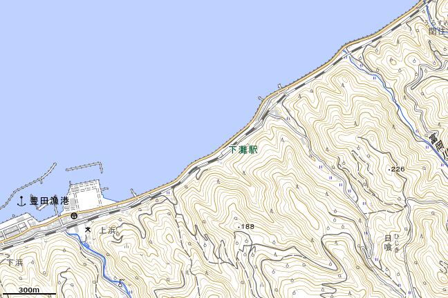 地形図:下灘駅付近