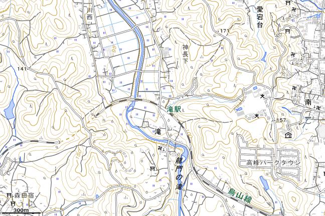 地形図:滝駅周辺