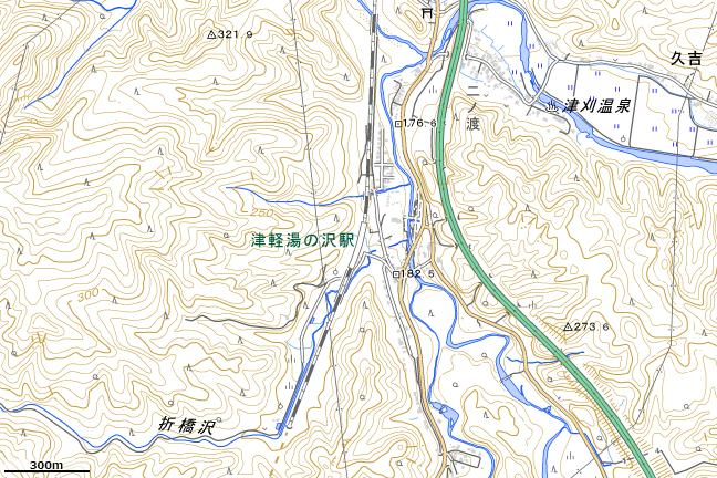 地形図:津軽湯の沢駅周辺
