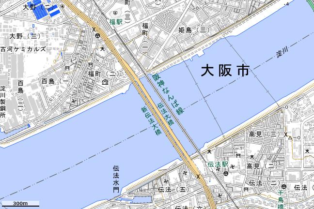 地形図:伝法大橋付近