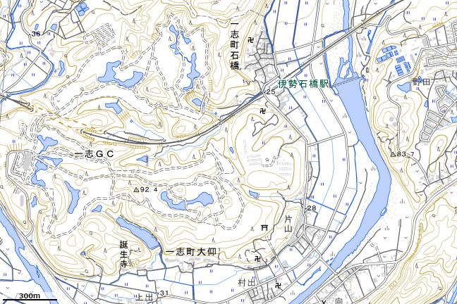 地形図:伊勢石橋駅周辺