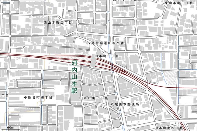 詳細地形図:山本駅周辺