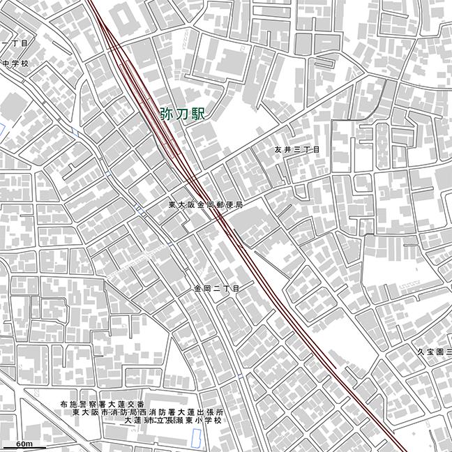 詳細地形図:弥刀駅周辺