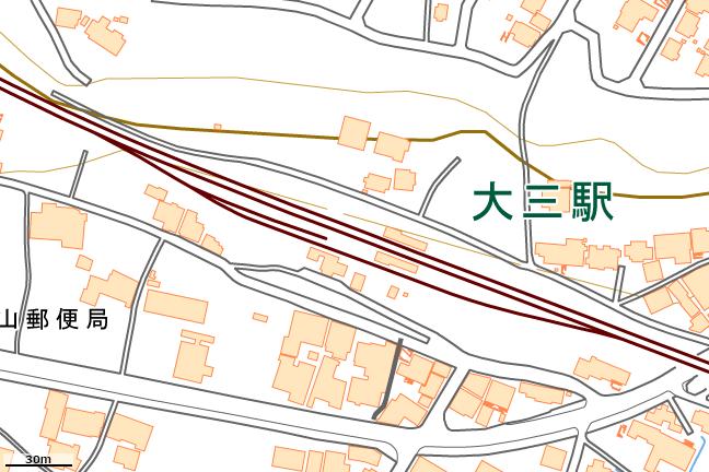 詳細地形図:大三駅周辺