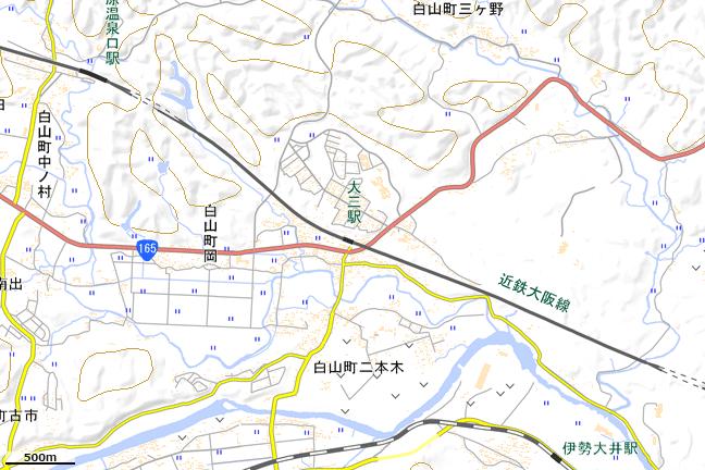 広域地形図:大三駅周辺