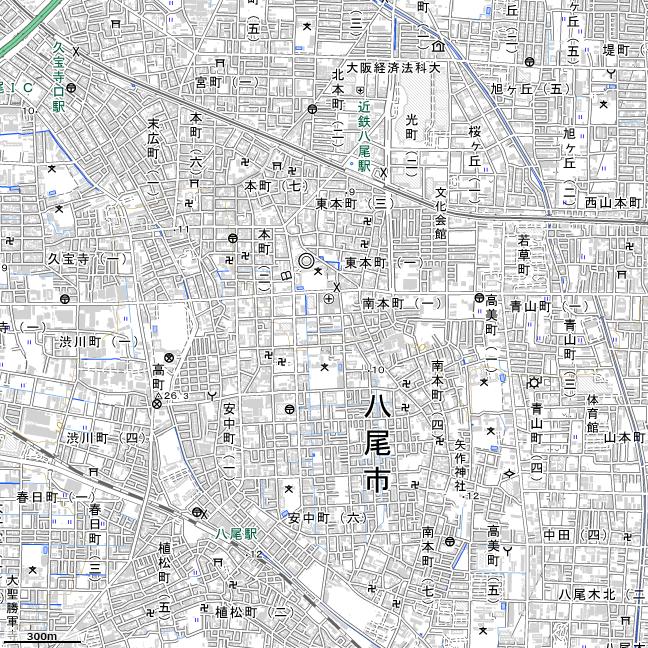 地形図:八尾駅周辺