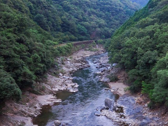下り線ホームから眺める保津川と嵯峨野観光鉄道の鉄路