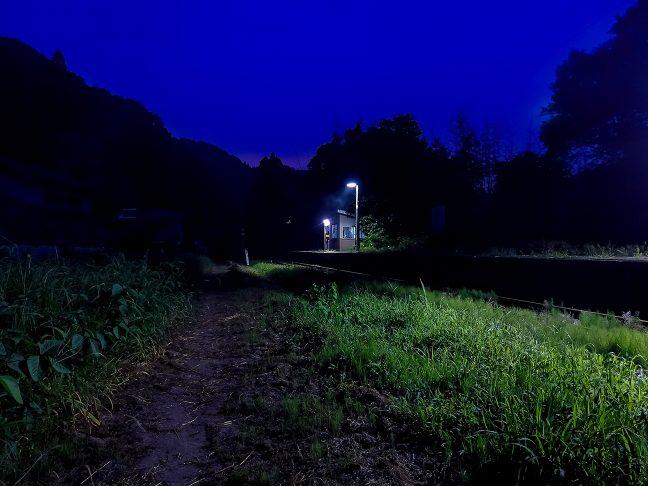 駅の向かいには畑とあぜ道が広がっている