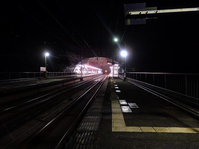 半トンネル半橋上の構造が特徴的な武田尾駅の夜