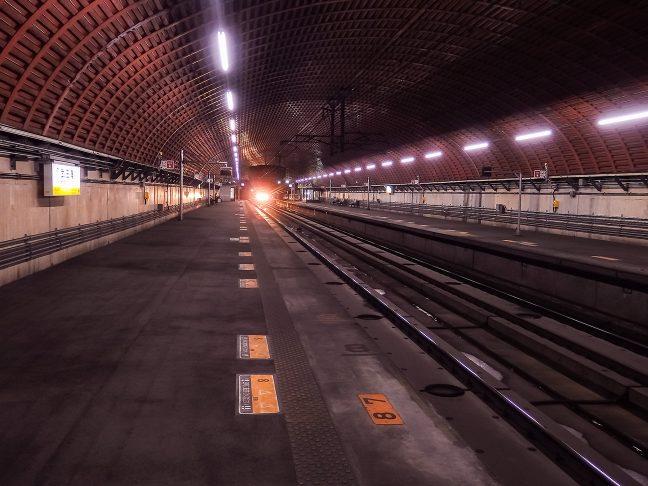 トンネル内の武田尾駅から眺めた上り大阪方向の風景