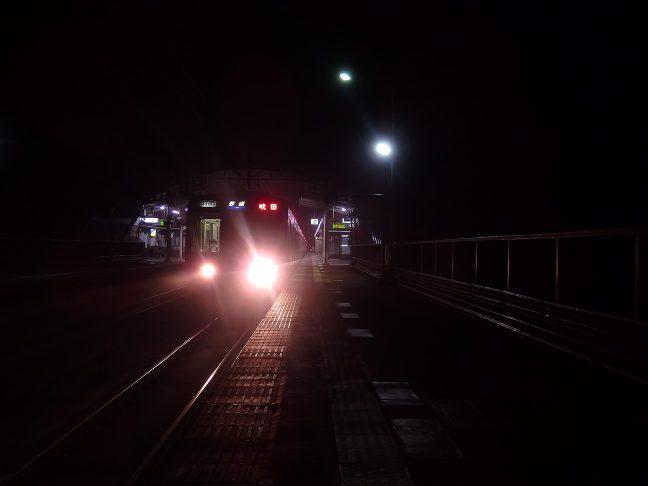 武田尾駅の上り始発列車は吹田行き
