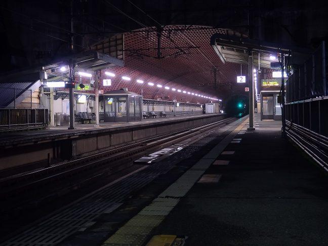 一見地下鉄の駅のように見えるトンネル内の武田尾駅