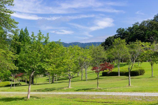 「東青山四季のさと」の敷地からは風車が林立する青山高原が遠望できる